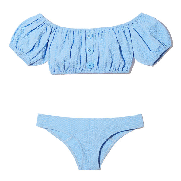 Lisa Marie Fernandez Leandra Cornflower Seersucker Button Bikini