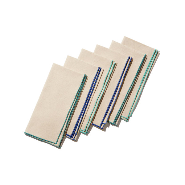 "Dot and Army  Linen Napkin Bundle, Set of 6, 18"""
