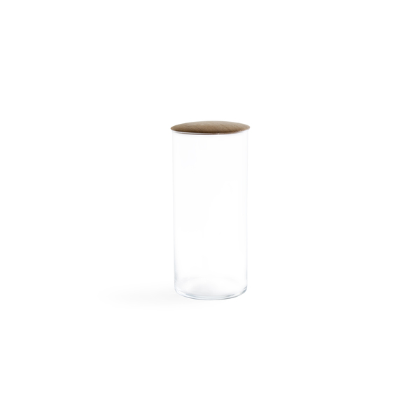 HAWKINS NEW YORK Large Glass Storage Container with Oak Lid