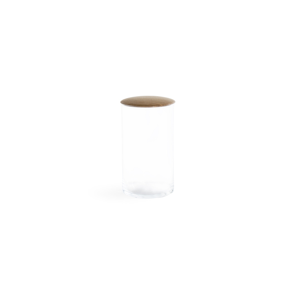 Hawkins New York Medium Glass Storage Container with Oak Lid