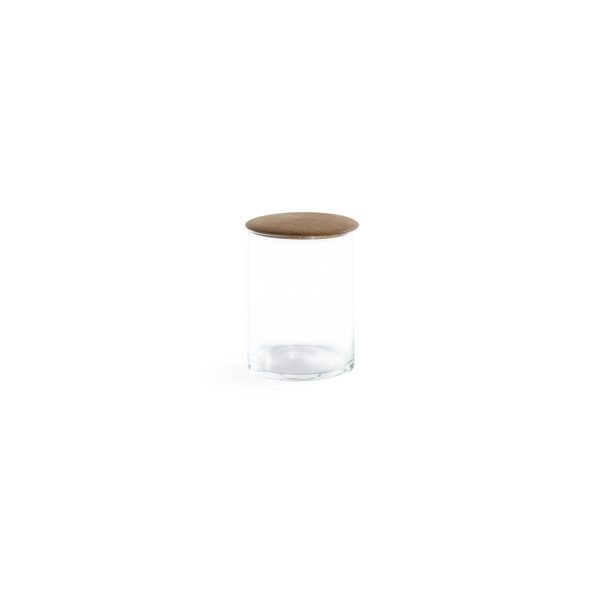 Hawkins New York Small Glass Storage Container with Oak Lid