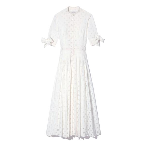 Carolina Herrera White Polka-Dot Dress