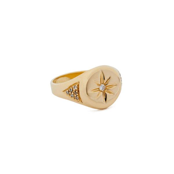 JACQUIE AICHE Gold Center-Burst Signet Ring