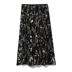 Menta Silk Floral Skirt