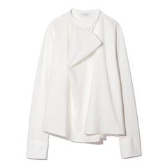 Long-Sleeve Stretch-Silk Blouse