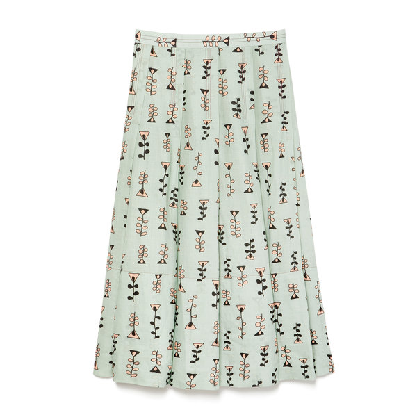 Marni Pleated Printed Skirt