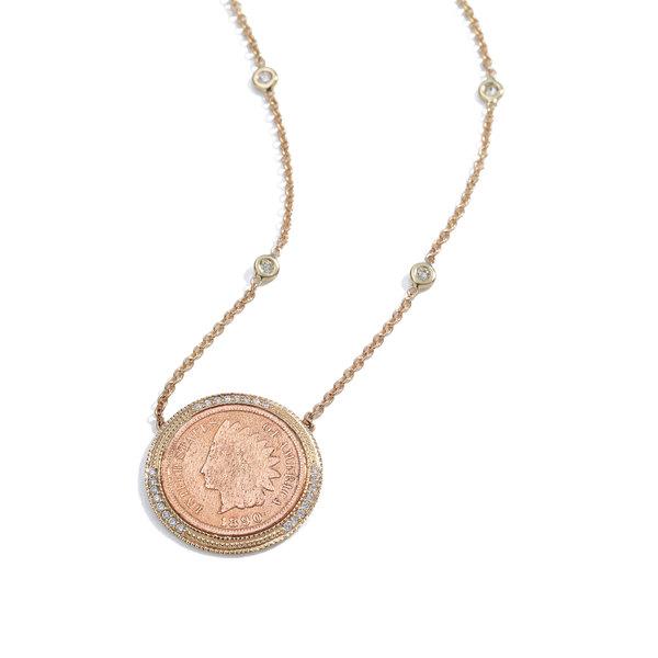 Jacquie Aiche Pavé & Copper Antique-Coin Necklace