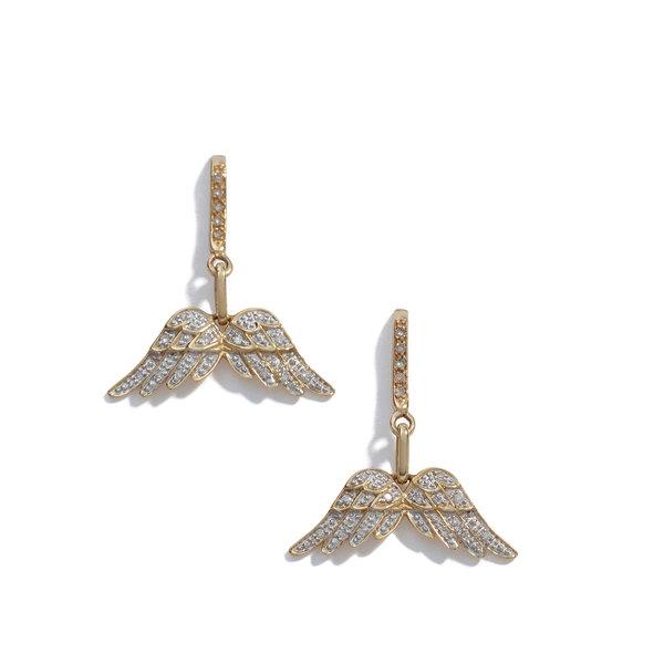SHERYL LOWE Pavé Diamond Wing Earrings