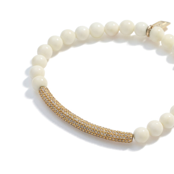 Sheryl Lowe Bone Bracelet with Pavé Diamond Bar