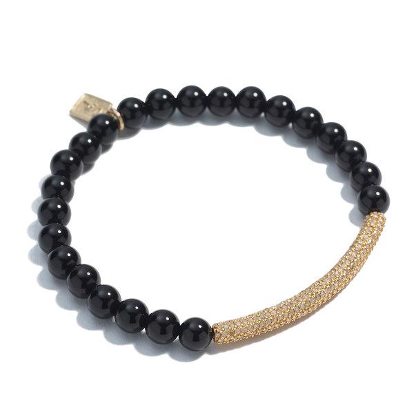 Sheryl Lowe Onyx Bracelet with Pavé Diamond Bar