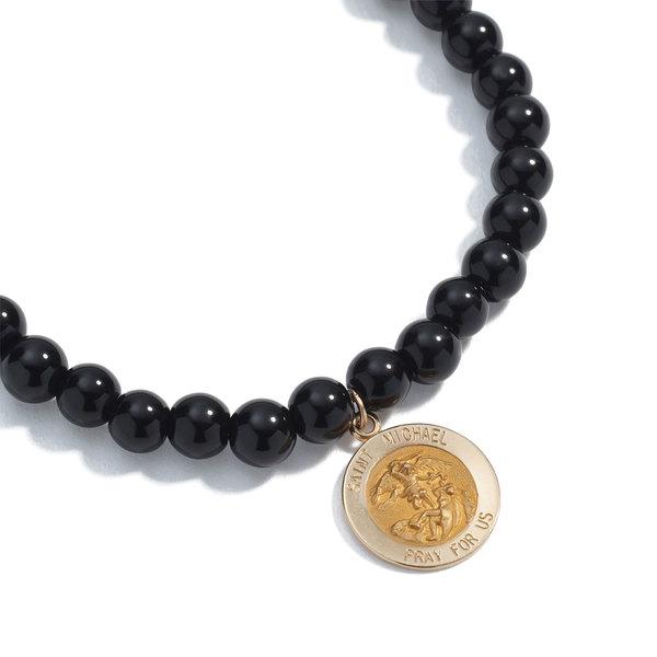 SHERYL LOWE Onyx Bracelet with Saint Michael Charm