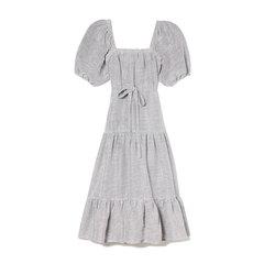 Square Neckline Linen Dress