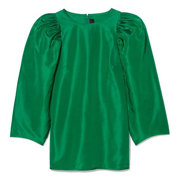 Martin Grant Puff-Sleeve Silk Top