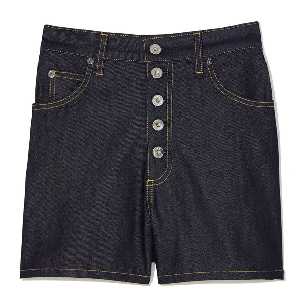 Eve Denim Leo Button-Fly Denim Shorts