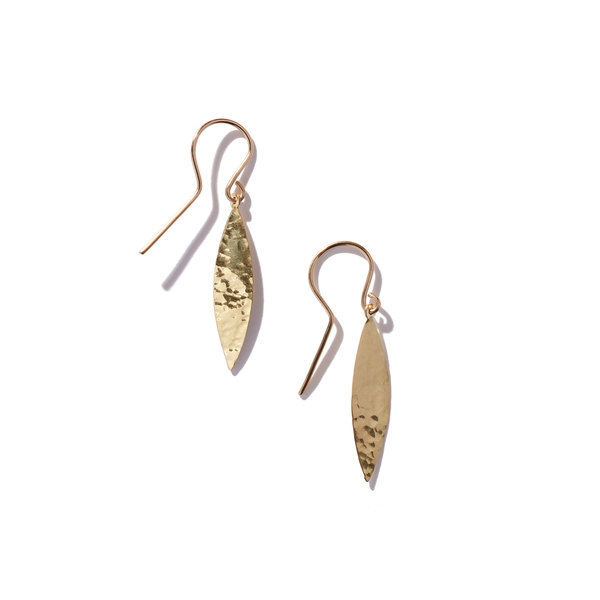 Jennifer Meyer Hammered 1 Marquise Drop Earrings