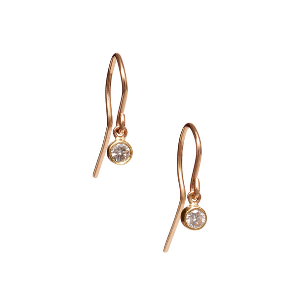 Jennifer Meyer Large Bezel Drop Earrings