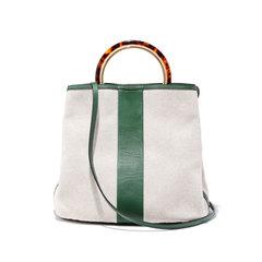 Canvas & Leather Shoulder Bag