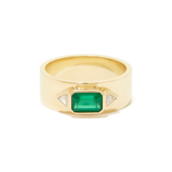 Azlee Emerald NESW Diamond Ring