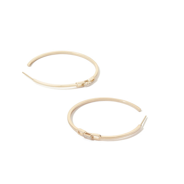 Sophie Ratner Diamond Clasp Yellow-Gold Hoops