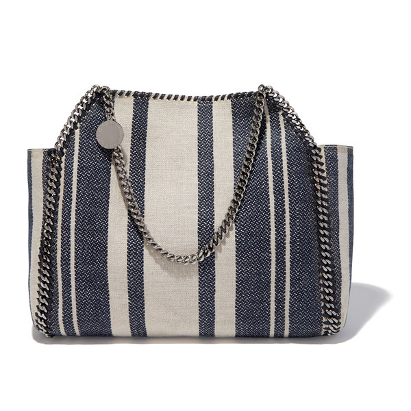 Stella McCartney Striped Canvas Small Tote Bag