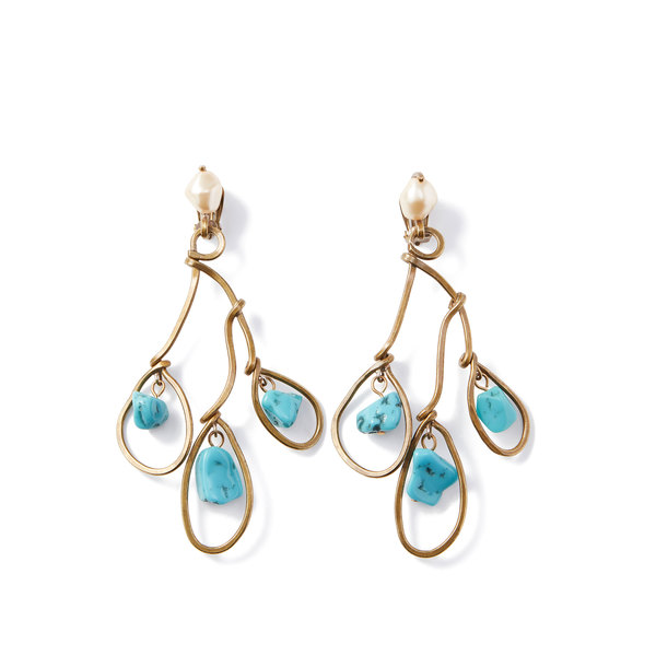 Marni Three-Tier Blue Resin Earring