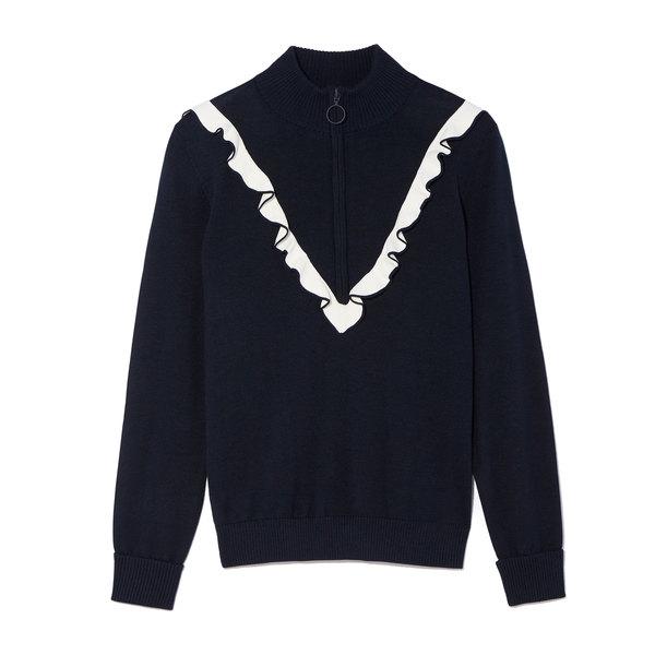 Tory Sport Performance Cashmere Ruffle Half-Zip Sweater