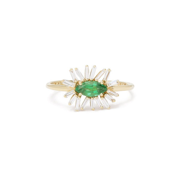 Suzanne Kalan Emerald & Diamond Flower Ring