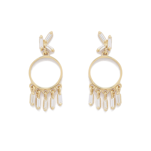 Suzanne Kalan Diamond Circle Dangle Earrings