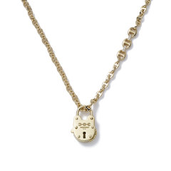 Open-Link 18K Gold Necklace with Lock