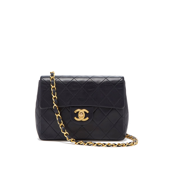 What Goes Around Comes Around Chanel Navy Lambskin Mini Flap Bag