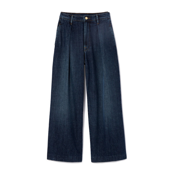 goop x Frame Deep Pleat Crop Palazzo Jeans