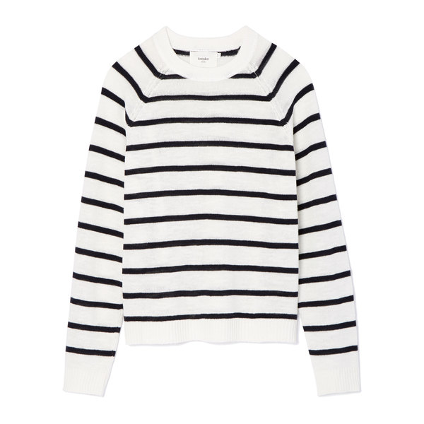 Bassike Stripe Cotton Linen Knit Top