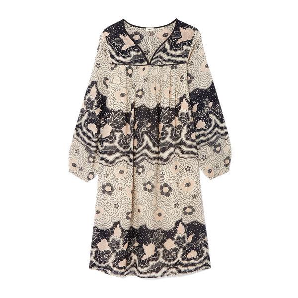 Warm Cherry Blossom Wave Tunic Dress