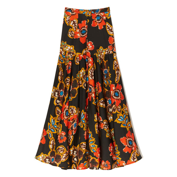 Warm Batik Floral Skirt