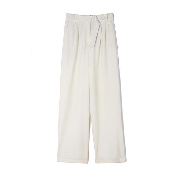 Tibi Stella Pleated Pants with Stripe & Belt