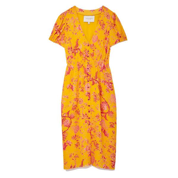 Carolina Herrera Floral V-Neck Chiffon Dress