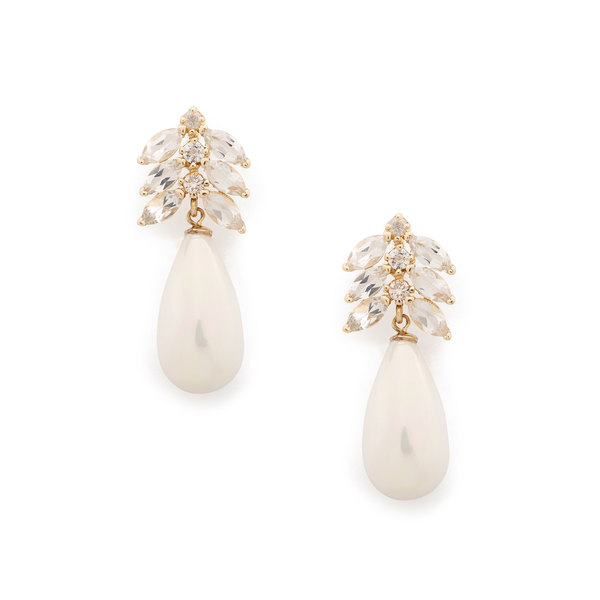 Loren Stewart Aura Teardrop Diamond Pearl & Topaz Earrings