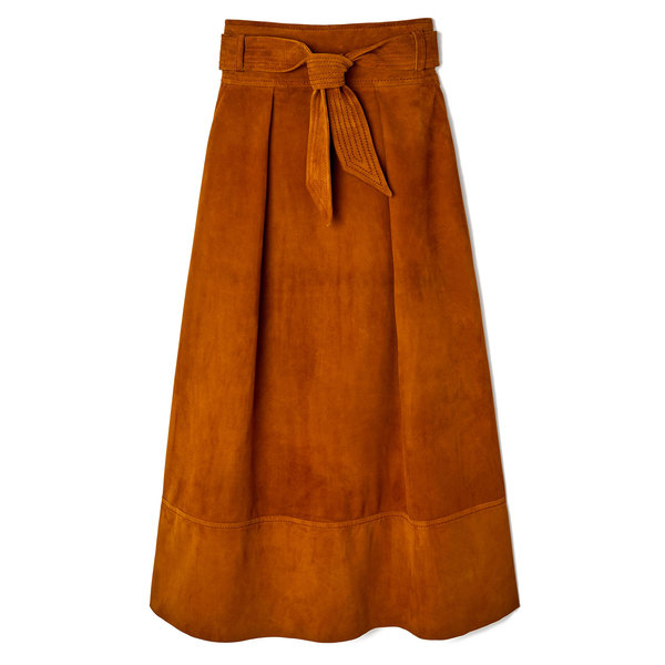 Martin Grant Belted A-Line Suede Skirt
