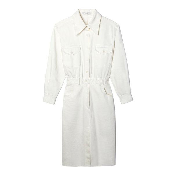 Tibi Enzyme-Washed Twill Pocket Dress