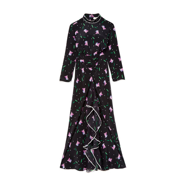 Rixo London Gabriele High-Neck Ruffle Dress