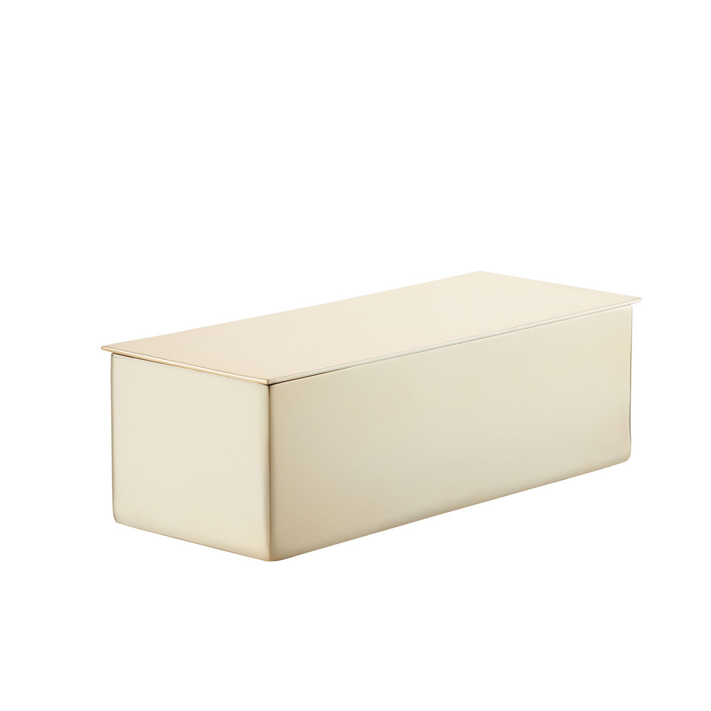 goop x CB2 Oro Champagne Gold Box goop x CB2 Oro Champagne Gold Box: The beauty of this streamlined trinket box—other than the stunning champagne-gold silhouette and perfect size—is in its simplicity. Keep it anywhere and stash anything: jewelry, crystal collections, business cards, keepsakes… Stainless steel with champagne-gold finish Wipe clean with soft dry cloth Height: 5.35 ; Length: 11.5 ; Width: 6.25 .