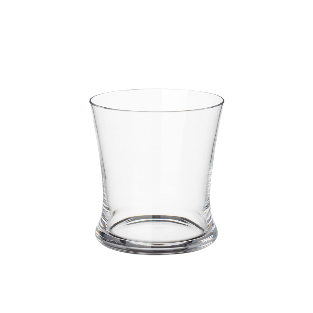 goop x CB2 Wilton Double Old-Fashioned Glass goop x CB2 Wilton Double Old-Fashioned Glass: Sized just right for mixed drinks, this double old-fashioned glass is inspired by traditional European hand-blowing, meaning that the glass is pulled from the furnace and blown to a delicate, curved shape before cooling and finishing. Consider getting the Bedside Pitcher as well; the glass is sized to slip right over. Clear glass Dishwasher safe Height: 3.3 ; Length: 3.1 ; Width: 2.9 .