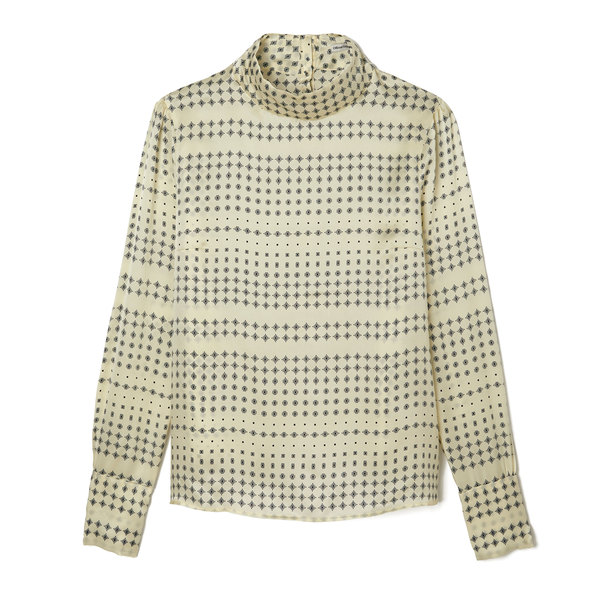 Officine Generale Jade French Printed Silk Top