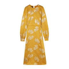 Licorice Floral Jacquard Dress