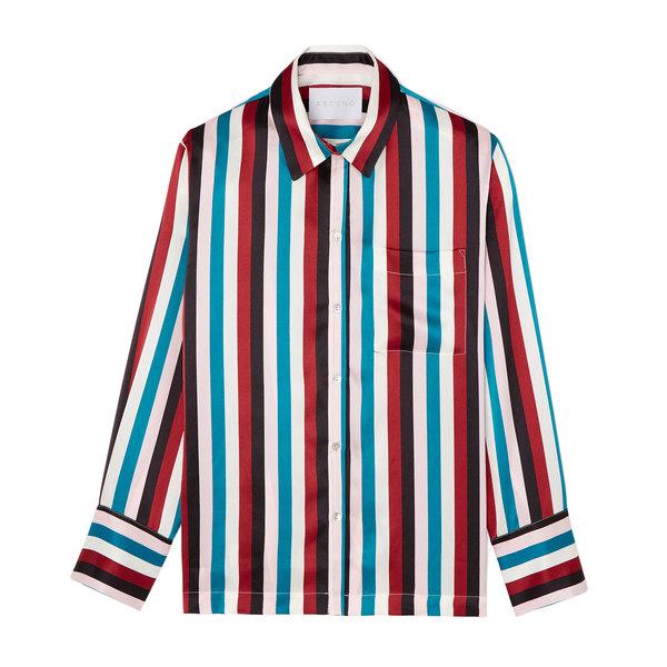Asceno Striped Silk PJ Top