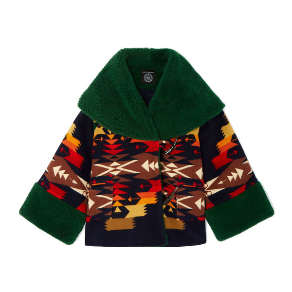 Lindsey Thornburg Tucson Navy Trench Cloak with Shearling