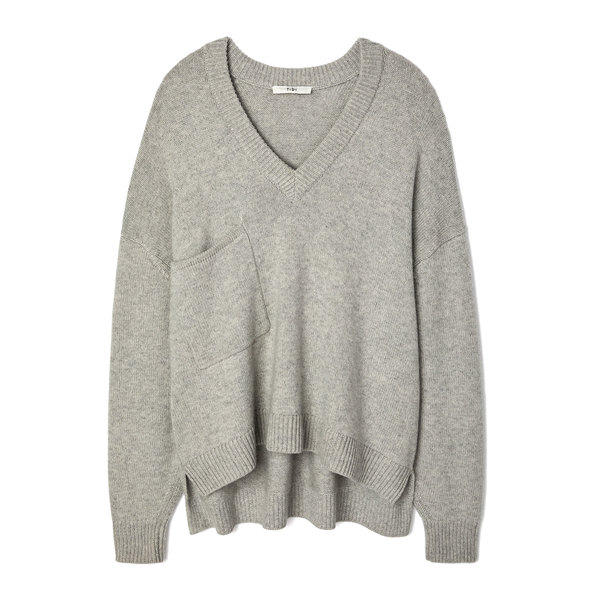 Tibi Cashmere Deep V-Neck Oversized Pullover