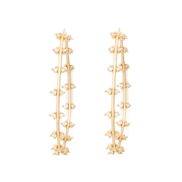 Sophie Ratner Double Row Diamond Hoops