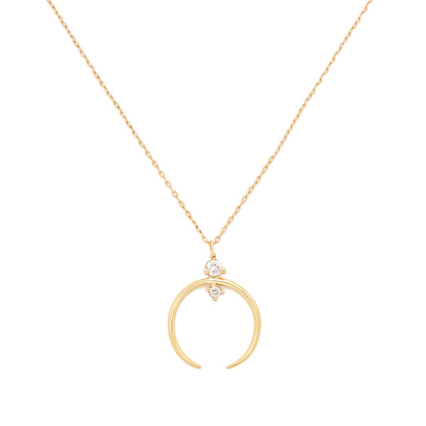 Sophie Ratner Crescent Yellow-Gold Pendant Necklace