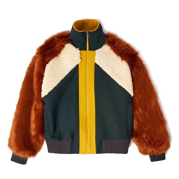 Sea Wool Combo Fur Track Jacket
